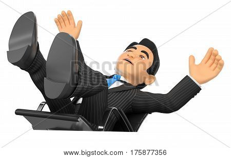3d business people illustration. Businessman scared falling off his office chair. Isolated white background.