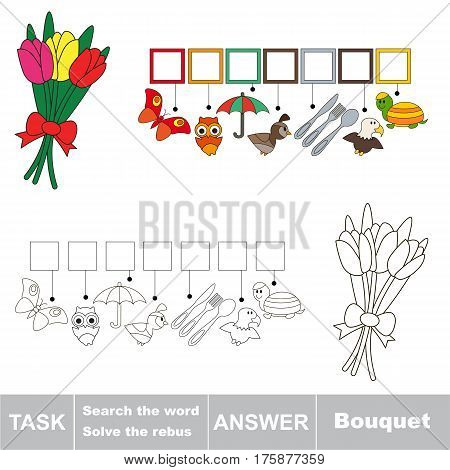 Educational puzzle game for kids. Find the hidden words Bouquet