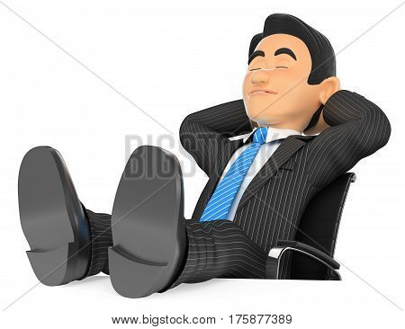 3d business people illustration. Businessman sleeping with eyes closed and feet up. Isolated white background.