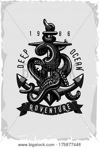 Black and white sign with octopus and anchor. Retro poster.