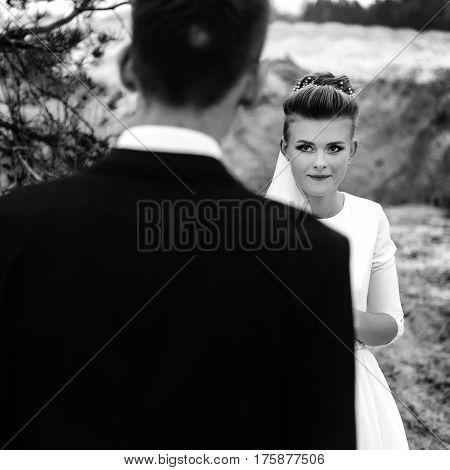 Happy Bride Looking At Her Groom At Sandy Lake, Luxury Elegant Wedding, Black And White