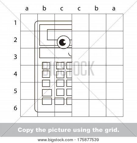 Finish the simmetry picture using grid sells, vector kid educational game for preschool kids, the drawing tutorial with easy game level for half of Calculator