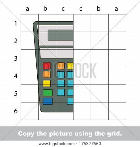 Finish the simmetry picture using grid sells, vector kid educational game for preschool kids, the drawing tutorial with easy game level for half of Calculator.