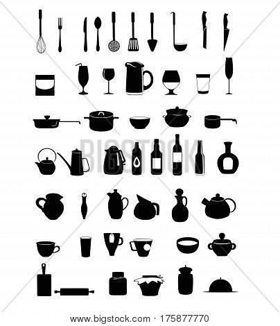 Kitchen ware and utensils icons. Black silhouette Kitchen tool vector set.