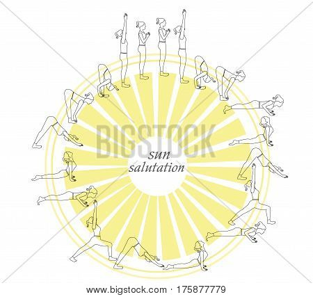 Sun Salutation Complex yoga postures in outline style.Yoga postures outline silhouette.
