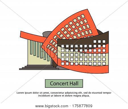 Modern concert buildings in flat style. Concert hall for music festival, rock concert etc.