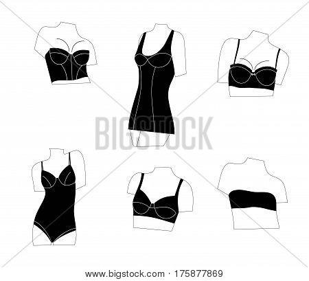 Set of women bras. Set of women lingerie, types of bras, black models of underwear for woman.