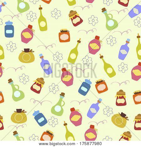 Seamless pattern with glass jars.  Cartoon illustration of jam in a glass jar pattern.