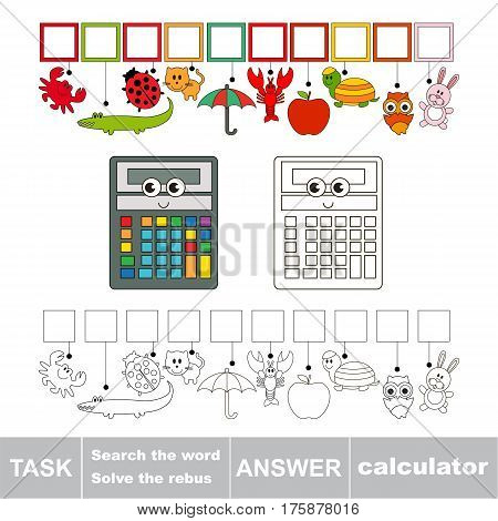 Educational rebus game for preschool kids with easy game level to find solution and write the hidden word in grid cells - Calculator. poster
