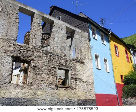 Old and colored facades in Zell on the Moselle. Germany