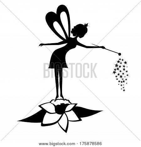 Fairy black silhouette . Vector illustration of forest Fairy isolated on white background. Stencil fairy. Black Pretty flower fairy.