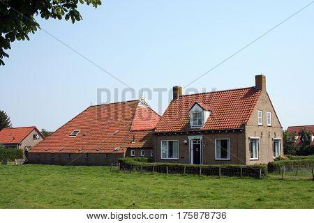 Netherlands Ameland Buren july 2016: Typical houses of Ameland