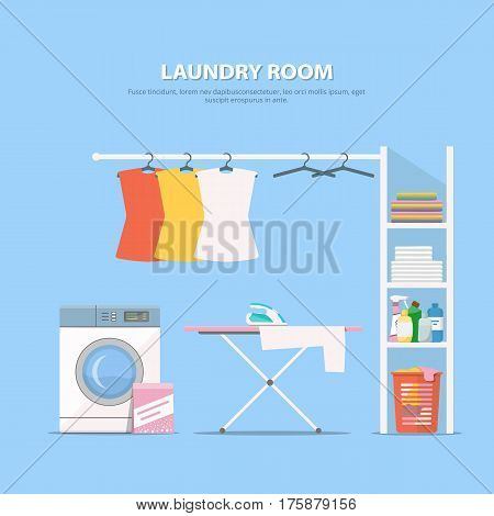 Laundry room with washing machine, wardrobe with household chemistry and clean linen. Concept laundry interior in flat style. Vector illustration.