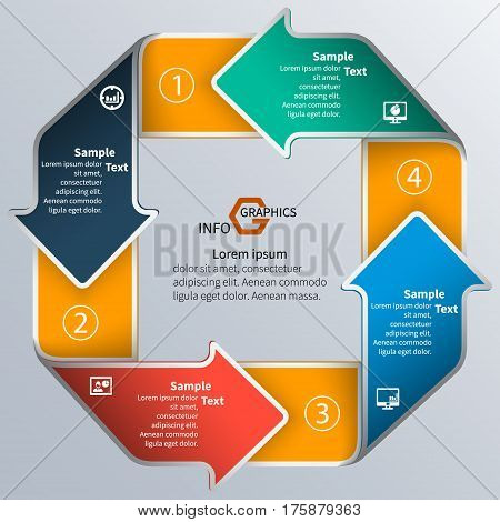 vector abstract 3d paper infographic elements.The circular arrow infographics