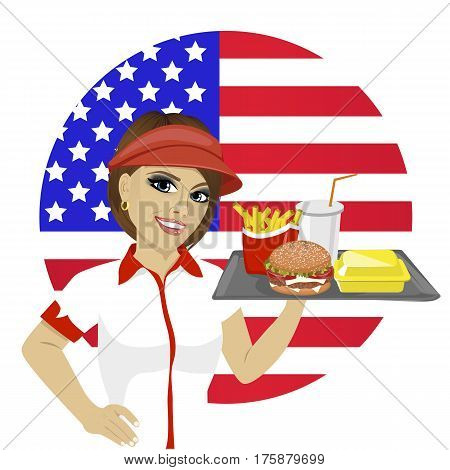 young employee with fast food on a tray over usa flag