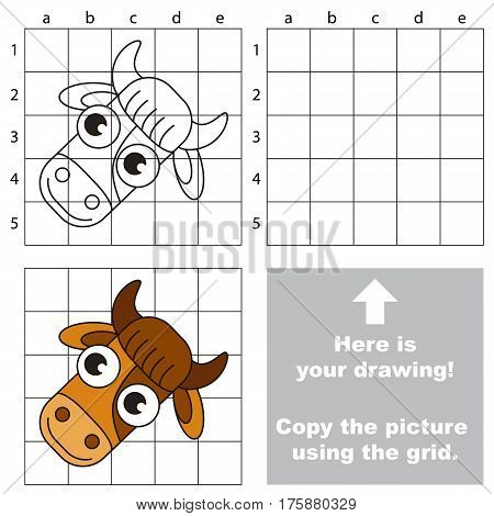 Copy the picture using grid lines, the simple educational game for preschool children education with easy gaming level, the kid drawing game with Cow