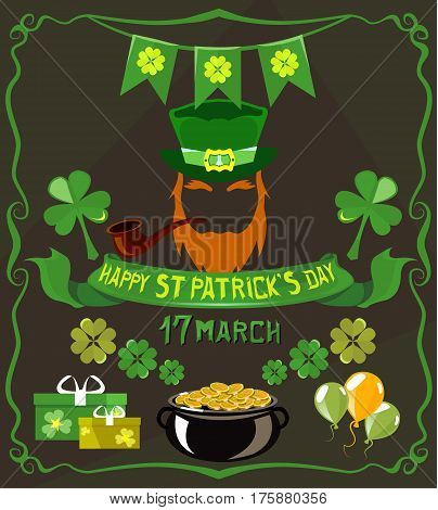 Set of isolated objects on St. Patrick's Day theme. Pot, beard, gift, balloons, clover, four-leafed, ribbons, text, hat, coins, presents tube In green tones on a dark background
