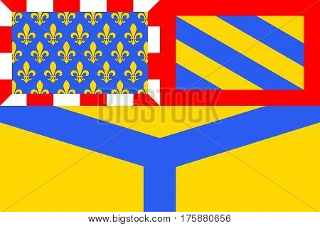 Flag of Yonne - department in eastern France a department of the Burgundy region. The administrative center - Auxerre. Vector illustration