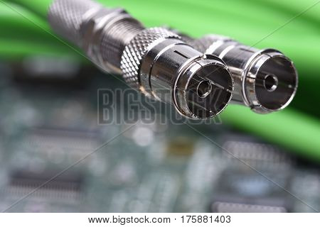 Coaxial Cables with Electronic Board in Background