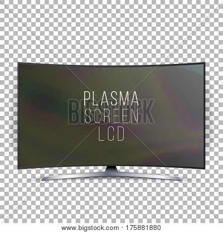Screen Lcd Plasma Vector. Curved TV Modern Blank Led Screen Panel Isolated On White Background. Realistic