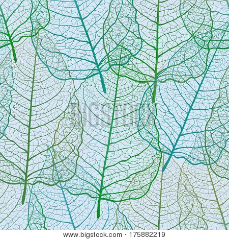 Seamless pattern with openwork leaves. Spring  background. Green and blue skeletonized foliage. Handmade. Vector illustration EPS10