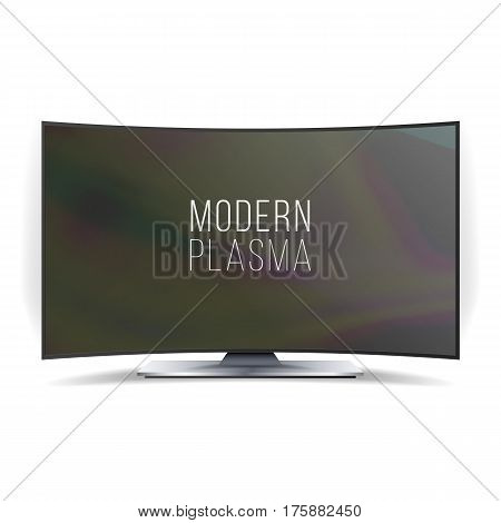 Screen Lcd Plasma Vector. Curved TV Modern Blank Screen Panel Isolated On White Background. Realistic