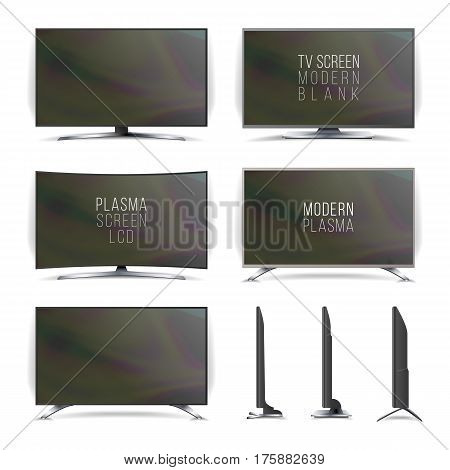 Screen Lcd Plasma Vector. Television Set. Curved and Flat TV screen lcd, plasma. Two Sides. Isolated On White Background. Realistic