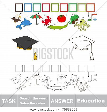 Educational puzzle game for kids. Find the hidden word Education