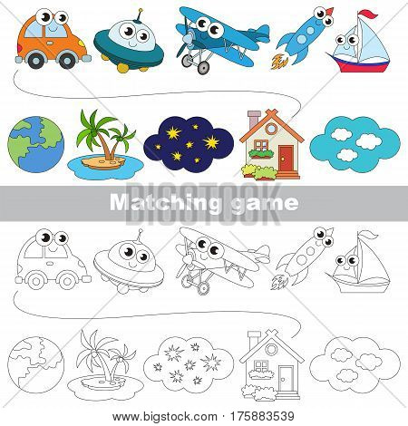 Transport and destination, to find the appropriate couple of objects, to compare and connect objects and their relevant pairs, the matching educational kid game with simple level for preschool kids