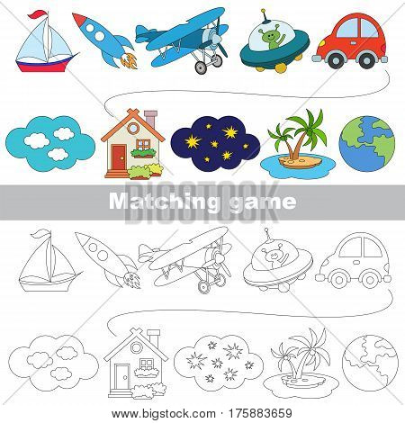 Transport set to find the appropriate couple of objects, to compare and connect objects and their relevant pairs, the matching educational kid game with simple gaming level for preschool kids.