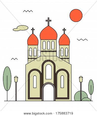 Orthodox church icon. Flat illustration of church vector icon for web design