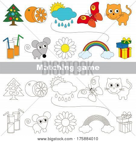Funny set to find the appropriate couple of objects, to compare and connect objects and their relevant pairs, the matching educational kid game with simple gaming level for preschool kids.