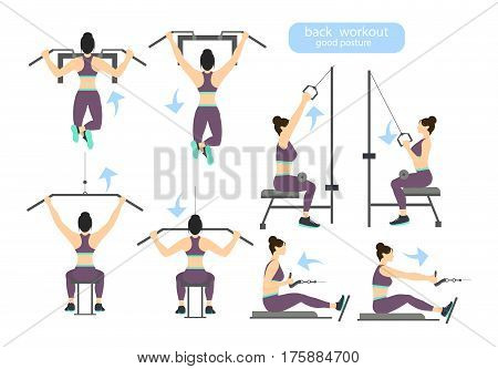 Back workout set on white background. Exercises for women. Hard training.