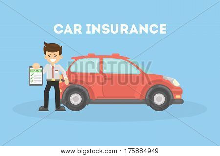 Car insurance in service center. Businessman shows the document of car protection.