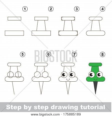 Drawing tutorial for preschool children, the easy educational kid game with simple game level of difficulty, how to draw Green Pushpin.