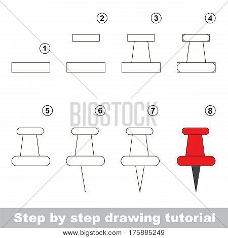 Kid game to develop drawing skill with easy gaming level for preschool kids, drawing educational tutorial for Red Pushpin.