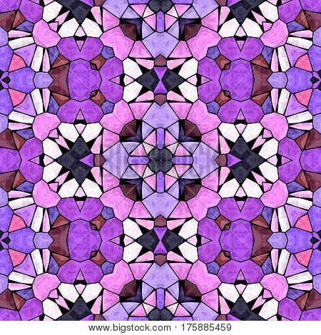 mosaic kaleidoscope seamless pattern texture background - pink and purple colored with black grout