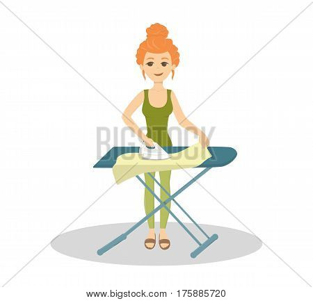 Isolated housewife ironing and standing on white background. Household chores.