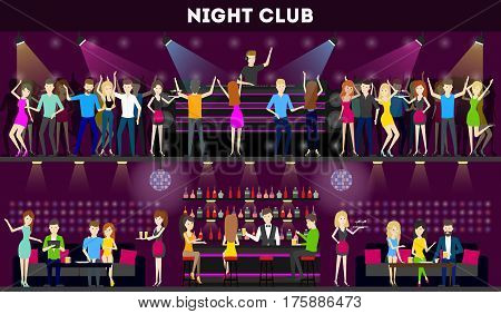Night club interior set. Moder syle club with bar and dance hall. Dj plays music, people dance.