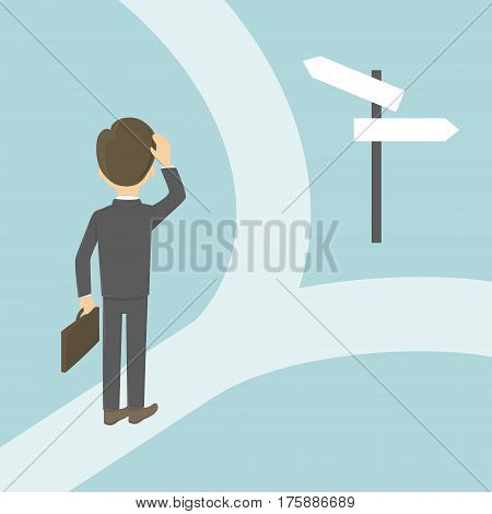 Businessman on the crossroads. Choosing the right way. Concept of changes, strategy and direction.