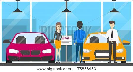 Showroom dealership store. Salesman with visitors. Different colors automobiles.