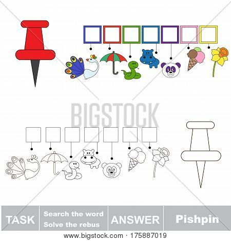Educational puzzle game for kids. Find the hidden words Pushpin