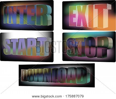 Buttons for the site enter exit stop start download
