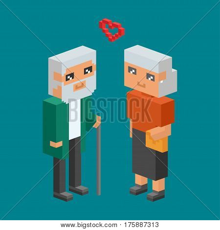 3d isometric family couples people concept flat icons. Flirting, love, date, wedding and parenting. Family concept. Together concept. People couple vector 3d square illustration. family, man and woman