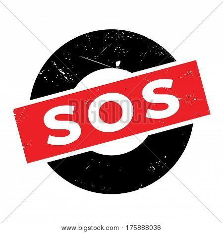 Sos rubber stamp. Grunge design with dust scratches. Effects can be easily removed for a clean, crisp look. Color is easily changed.