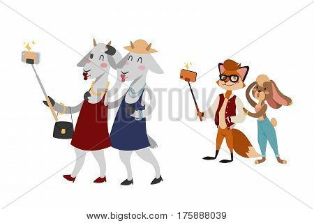 Funny picture photographer mamal person take selfie stick in his hand and cute animal taking a selfie together with smartphone camera vector illustration. Camera photo pet character.