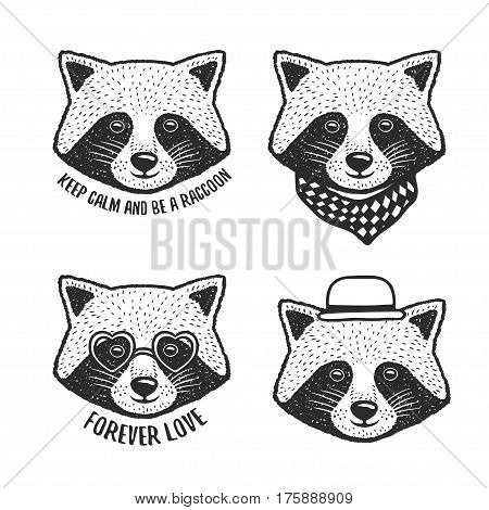 Hand drawn cartoon raccoon head prints set. Cute hand crafted design elements for apparel prints, posters, wall decor. Vector vintage illustration.
