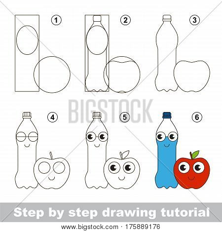 Drawing tutorial for preschool children, the easy educational kid game with simple game level of difficulty, how to draw the Lunch - Water and Apple.