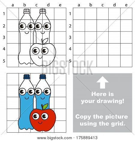 Copy the picture using grid lines, the simple educational game for preschool children education with easy gaming level, the kid drawing game with Water and apple.