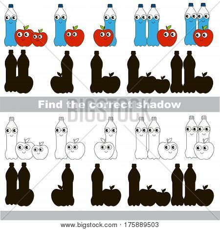 Water and Apple set to find the correct shadow, the matching educational kid game to compare and connect objects and their true shadows, simple game level for preschool kids education.